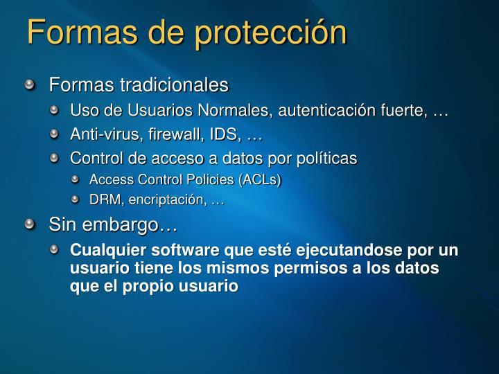 Formas de protección