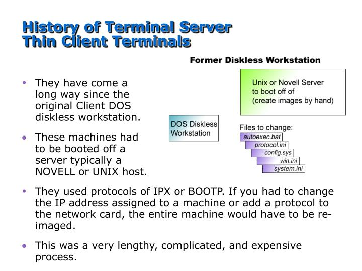 History of Terminal Server Thin Client Terminals