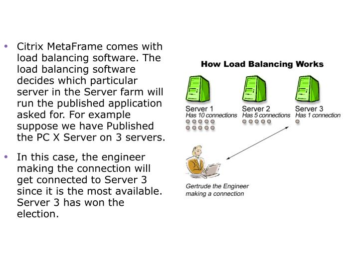 Citrix MetaFrame comes with load balancing software. The load balancing software decides which particular server in the Server farm will run the published application asked for. For example suppose we have Published the PC X Server on 3 servers.