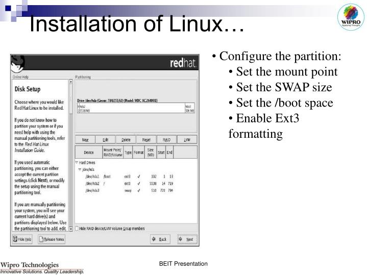 Installation of Linux…