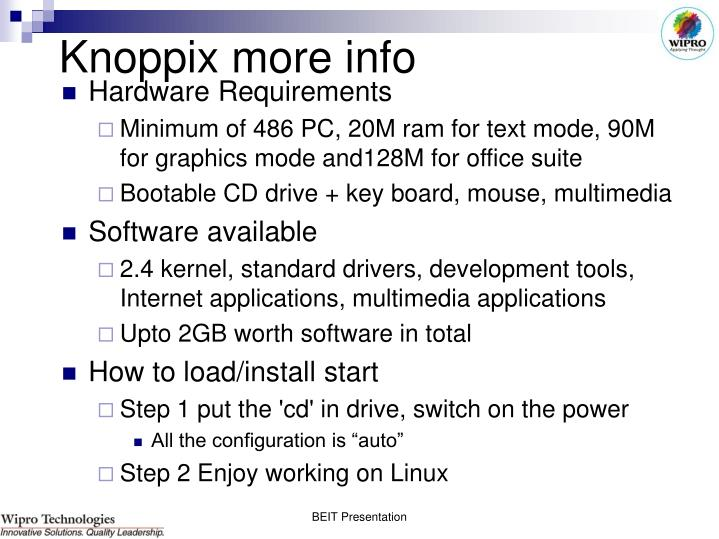 Knoppix more info