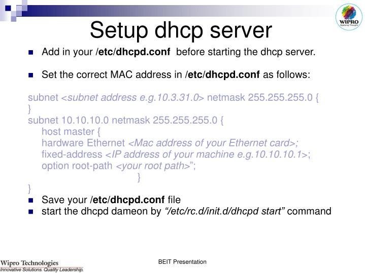 Setup dhcp server