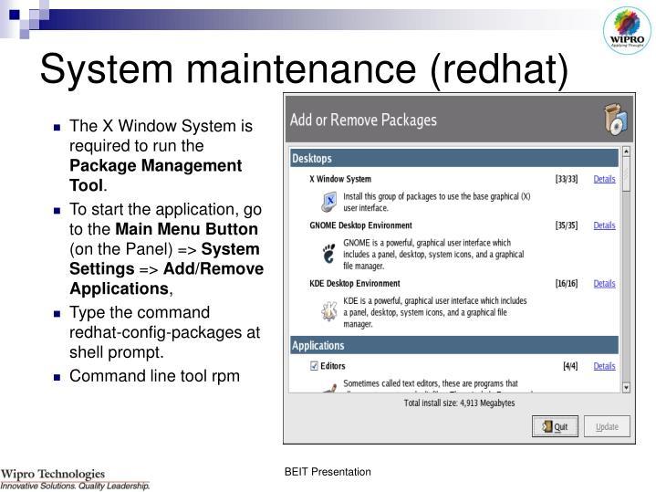 System maintenance (redhat)