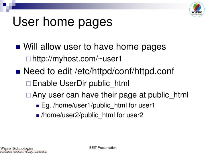 User home pages
