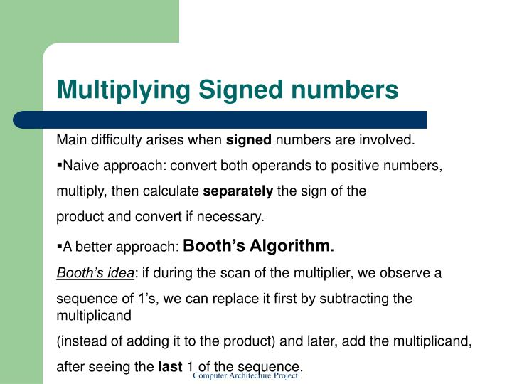 Multiplying Signed numbers