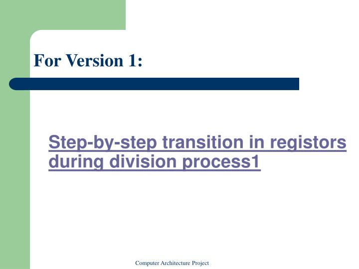Step-by-step transition in registors during division process1