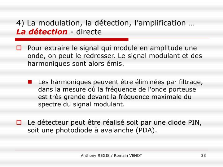 4) La modulation, la détection, l'amplification …