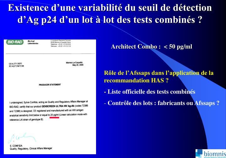 Existence dune variabilit du seuil de dtection dAg p24 dun lot  lot des tests combins ?