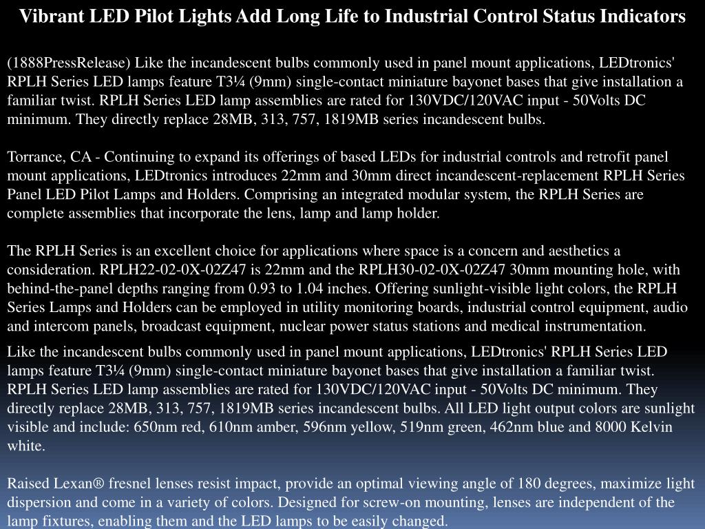 Vibrant LED Pilot Lights Add Long Life to Industrial Control Status Indicators