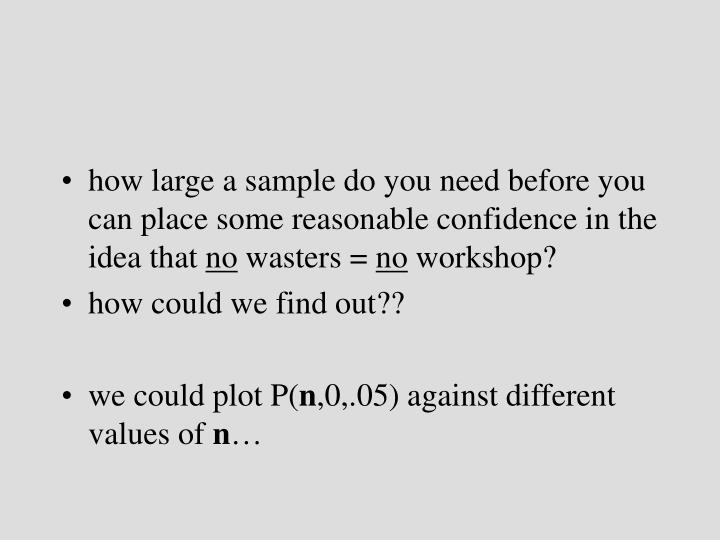 how large a sample do you need before you can place some reasonable confidence in the idea that