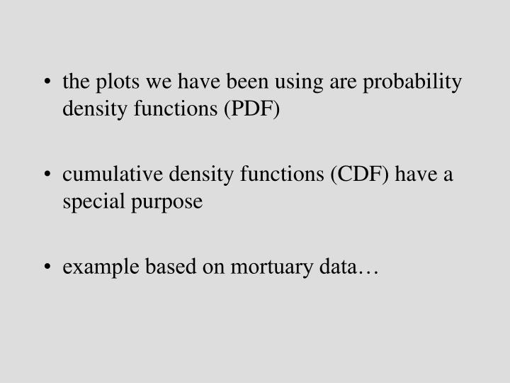 the plots we have been using are probability density functions (PDF)