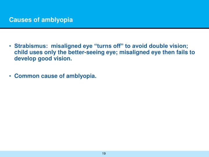 Causes of amblyopia