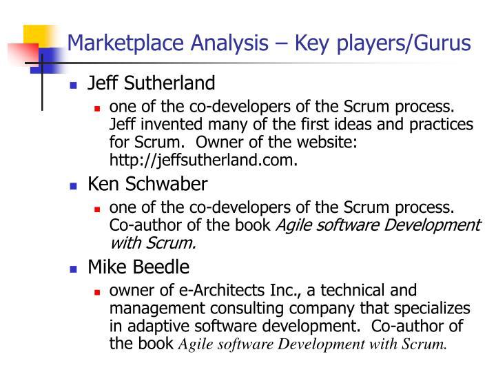 Marketplace Analysis – Key players/Gurus