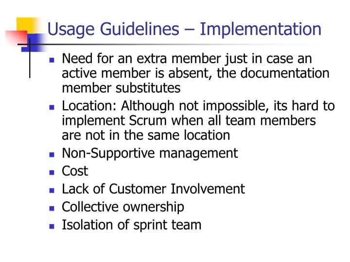 Usage Guidelines – Implementation