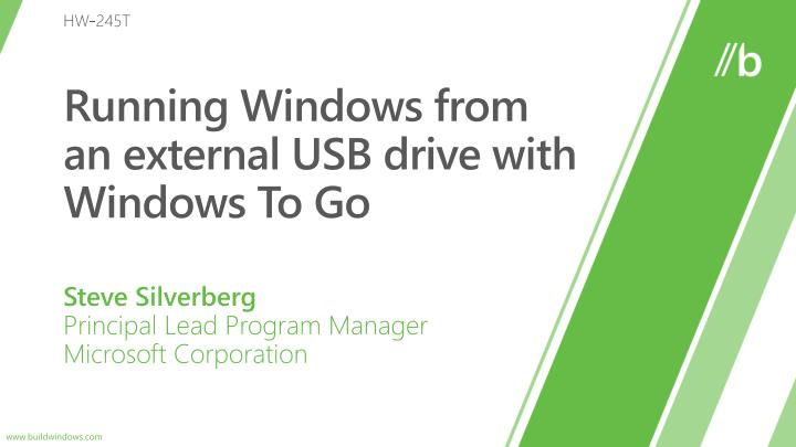 running windows from an external usb drive with windows to go