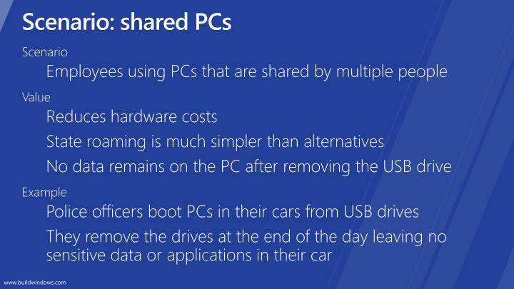 Scenario: shared PCs