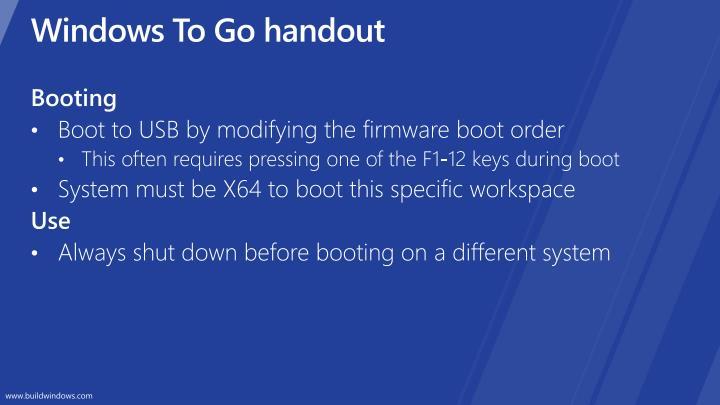 Windows To Go handout