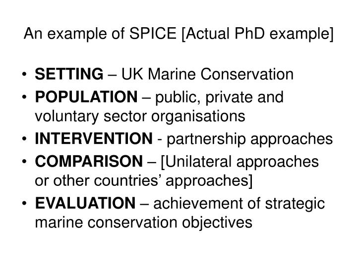 An example of SPICE [Actual PhD example]
