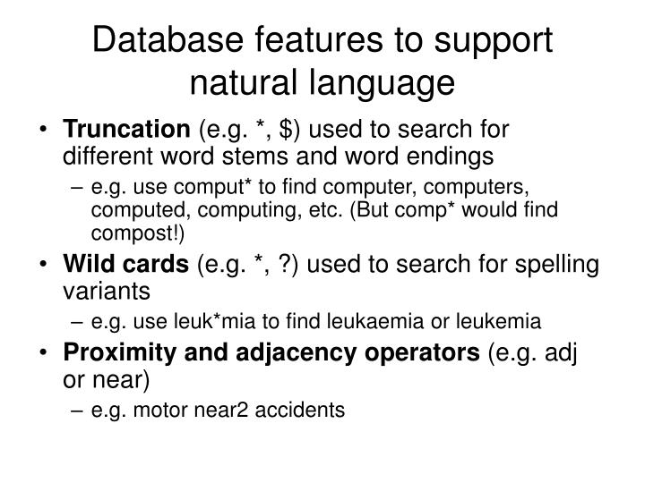 Database features to support natural language