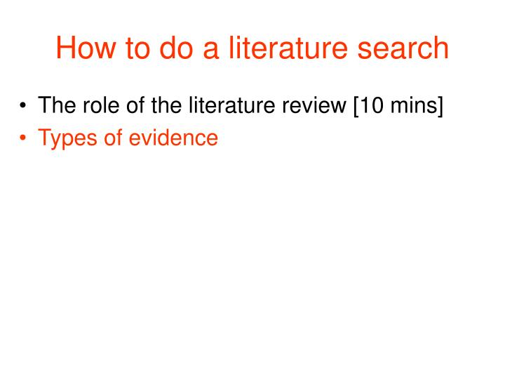 How to do a literature search