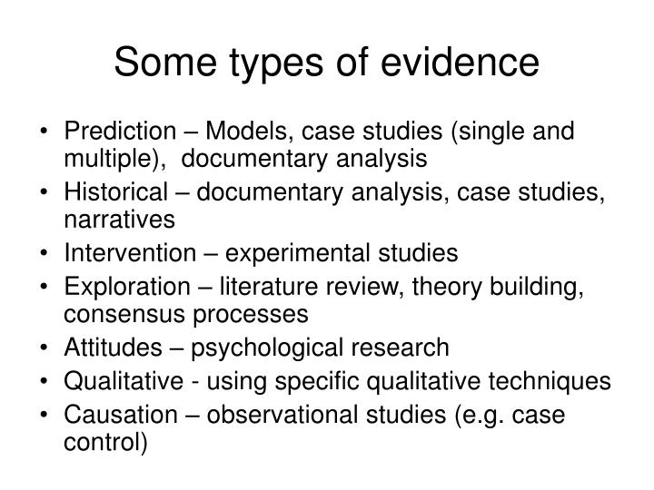 Some types of evidence