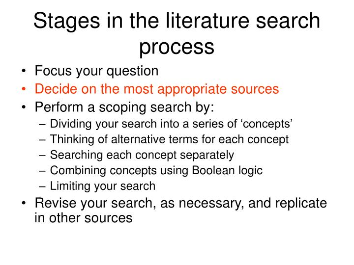 Stages in the literature search process