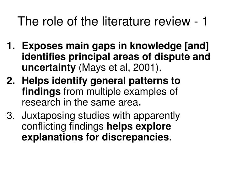 The role of the literature review - 1