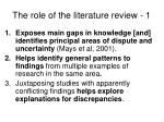 the role of the literature review 1