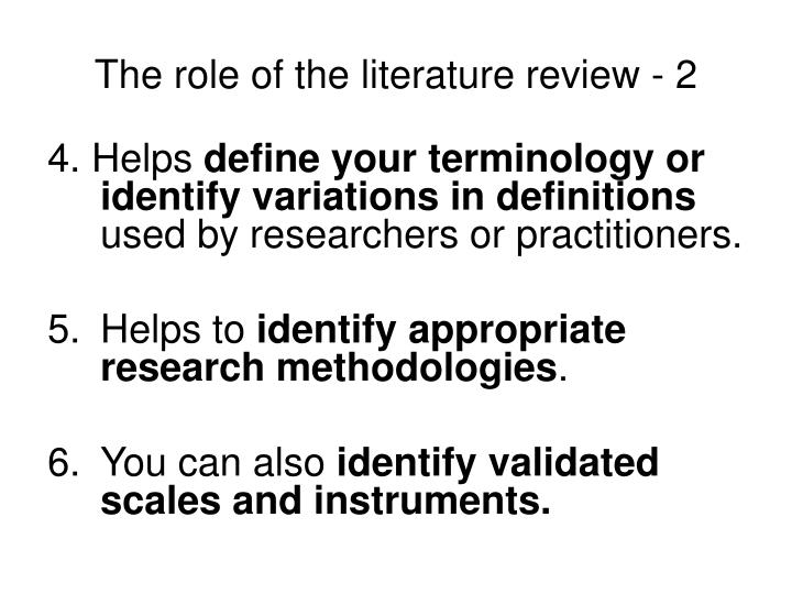 The role of the literature review - 2