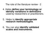 the role of the literature review 2