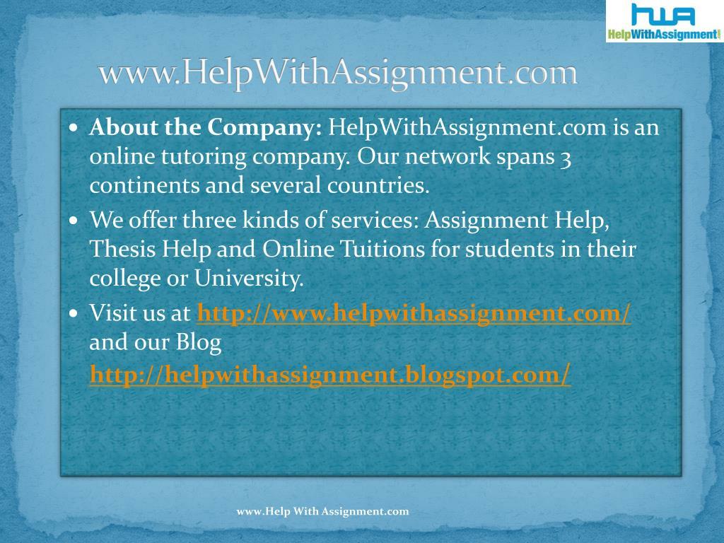 www.HelpWithAssignment.com