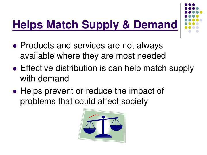 Helps Match Supply & Demand