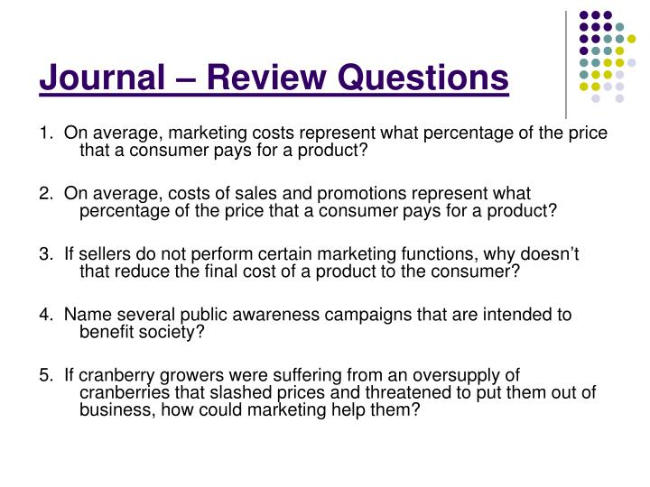 Journal – Review Questions