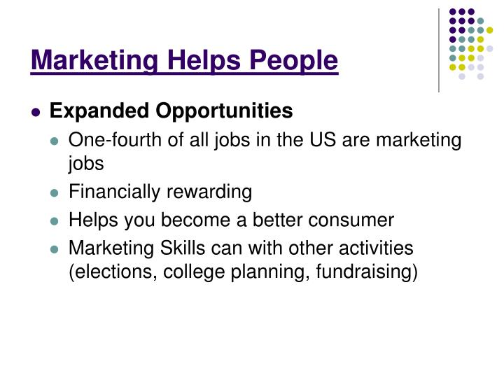 Marketing Helps People