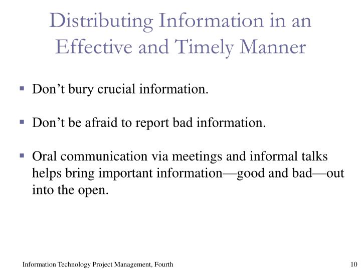 Distributing Information in an Effective and Timely Manner