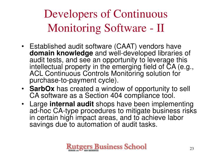 Developers of Continuous Monitoring Software - II