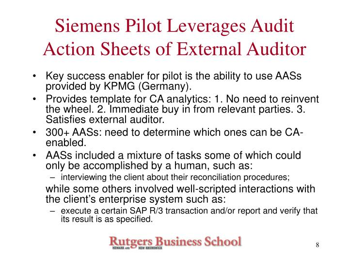 Siemens Pilot Leverages Audit Action Sheets of External Auditor
