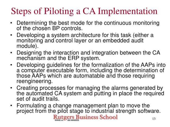Steps of Piloting a CA Implementation