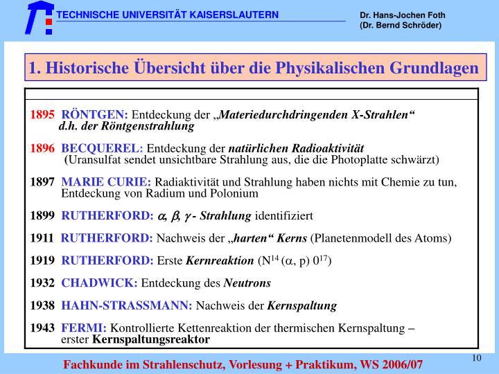 1. Historische Übersicht über die Physikalischen Grundlagen