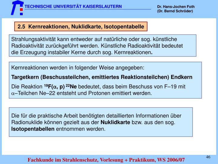 2.5  Kernreaktionen, Nuklidkarte, Isotopentabelle