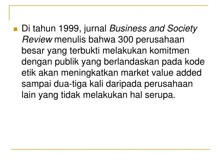 Di tahun 1999, jurnal