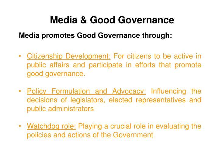 Media & Good Governance