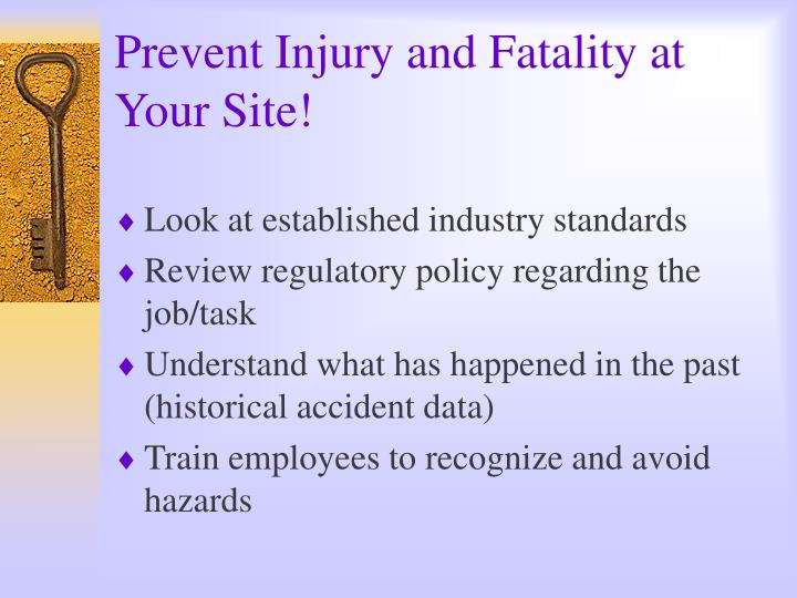 Prevent Injury and Fatality at Your Site!