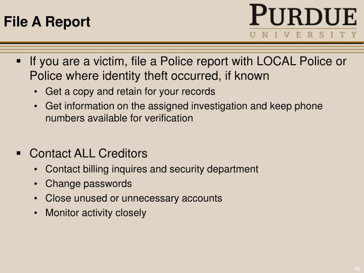 File A Report
