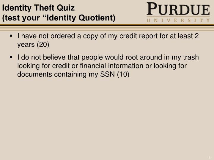 Identity Theft Quiz