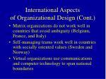 international aspects of organizational design cont