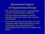 international aspects of organizational design