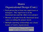 matrix organizational design cont1