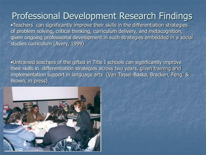 Professional Development Research Findings