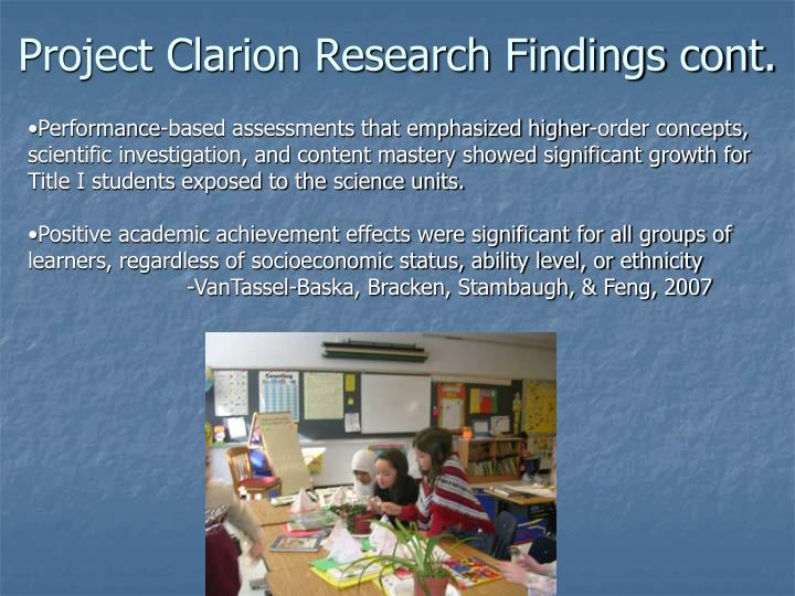 Project Clarion Research Findings cont.